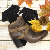 FALL lace ankle boot socks - black