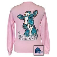 SALE Youth Girlie Girl Originals Southern Preppy Watercolor Cow Long Sleeve T-Shirt