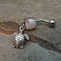 Cute bodyTurtle White Fire Opal  Belly Ring Navel Ring Body Jewelry 14ga Surgical Steel