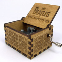 Engraved  wooden music box Here Comes the Sun  by InvenioCrafts