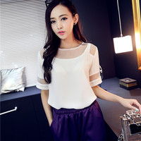 Xiaomei home temperament organza stitching chiffon shirt