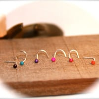 Pick Your Stud - Itty Bitty 2mm Nose Studs, 22 gauge, Small Nose Ring, Cartilage Earring, Helix, Piercing Jewelry
