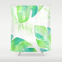 Summer Palms Shower Curtain by Hello Monday