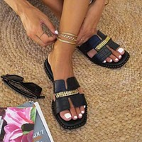 New style ladies outer wear rivet metal chain ladies sandals slippers