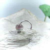 Nose Stud Moonstone Silver
