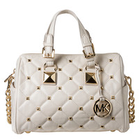 MICHAEL Michael Kors Medium 'Grayson' Quilted and Studded Satchel | Overstock.com
