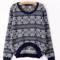 A 072906 Retro snowflake striped sweater loose from cassie2013