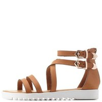 Tan Bamboo Strappy Flat Gladiator Sandals