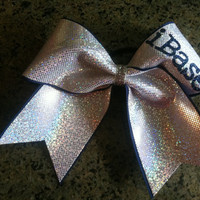 """3"""", 3 inch cheer cheerleader bow personalized with iBase, iFly, iCoach, iStunt"""