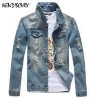 Trendy NEWDISCVRY Men's Denim Jacket 2018 Spring Autumn Slim Casual Men Fits Jeans Coats Man Cowboy Fashion Outwear Male Brand Clothing AT_94_13