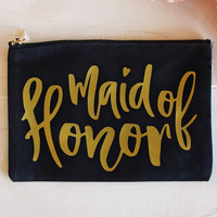 """""""Maid of Honor"""" Cosmetic Bag  - Black w/Gold"""