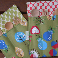 Reusable bamboo cutlery and roll up carrying pouch - Pears, apples and cherries