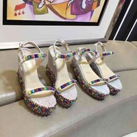 Christian Louboutin CL Pyraclou 6cm or 11cm Wedges Style #38 - Best Online Sale