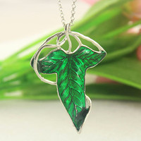 The Lord of the Rings jewelry--Demon Legolas Green Leaf Brooch&Necklace