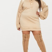 Plus Stone Ruched Sleeve Sweater Dress
