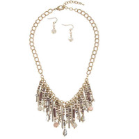 Tiered Metal Beads Dangle Necklace