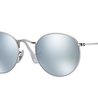 Ray Ban Round Metal Sunglass Matte Silver Mirrored RB3447 019/30
