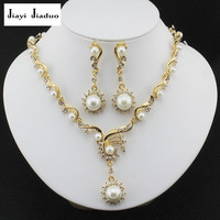 jiayijiaduo New fashion African Women jewelry set with gold-color imitation Pearl necklace earrings Jewelry  gift