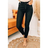 It's Our Time High Rise Distressed Kancan Jeans (Dark Grey)