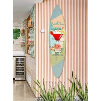 Wooden Surfboard Wall Art with Cocktail Print and Typography, Multicolor