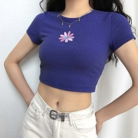 Purple Daisy Embroidered Ribbed Top
