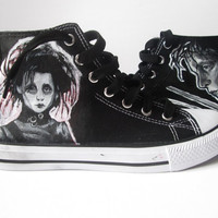 ON SALE Personalized handpainted shoes Edward Scissorhands shoes, SIZE 37 - us 5,5, uk 4,5 Tim Burton fanart, custom sneakers