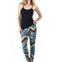 Blue Multi Printed Harem Pants