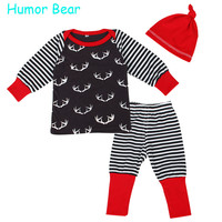 Humor Bear Autumn baby boys clothing sets Baby Clothes Baby Boys Girls Clothes 3PCS Long Sleeve + Pant + Hat Suit Infant Garment
