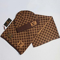 Louis Vuitton  Women Men Fashion Casual  Hat Cap Scarf  Set Two-Piece