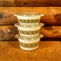 Vintage Pyrex Three Piece Set With Lids, Square Flowers, 3 Piece Casserole Set With Lids