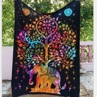 Indian Elephant Aubusson Colored Mandala Tapestry Bohemian Wall Art Or Bed Spread