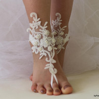 Beach Wedding Barefoot Sandals,Bridal Barefoot Sandals,İvory Lace Bridal Shoes,Wedding Lace Sandals