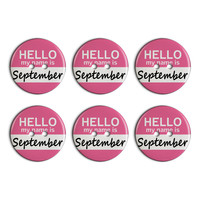 September Hello My Name Is Plastic Resin Button Set of 6