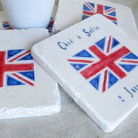 Personalized British Flag Coasters Set of 4 by MyLittleChick