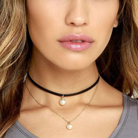 Fashion double layer two pearls choker necklace XRC1671
