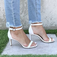 Lighten Up White Patent Leather Heels