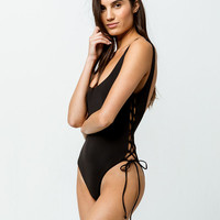 BIKINI LAB Solids Lace Up Black One Piece Swimsuit