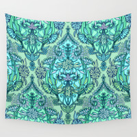 Botanical Moroccan Doodle Pattern in Mint Green, Lilac & Aqua Wall Tapestry by Micklyn