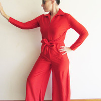 Vintage Bright Red Polyester Wide Leg 60s 70s Disco Jumpsuit with Butt Flap