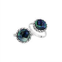AR-6258-AB-9'' Sterling Silver Ring With Abalone Shell