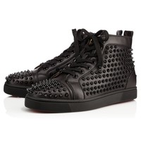 Christian Louboutin Louis Spikes Men's Women's Flat Black/Black Leather
