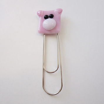 Pig, Piglet Made of Fused Glass, Pig Keychain, Pig Bookmark, Pig Magnet, Pig Brooch, Gift for Animal Lover, Custom Gift, Design A Pig