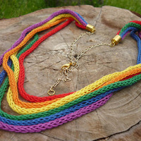 Set the rainbow crochet jewelry