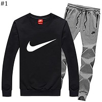 NIKE autumn and winter models men's plus velvet round neck shirt casual thin section feet pants sportswear two-piece suit #1