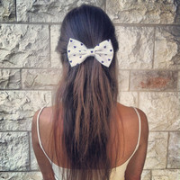 BIG White blue heartqueen bow - hair bow (Serial-Number-001)