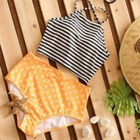 Stripes Tops Cotton Orange Shorts Swimwear Set [11771642575]