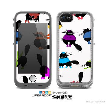 The White Cute Fashion Cats Skin for the Apple iPhone 5c LifeProof Case