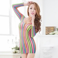 On Sale Cute Hot Deal Sexy Long Sleeve Stripes Stockings Exotic Lingerie [6596448323]