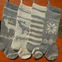 Knit Christmas Stocking Hand Knitted Personalized with Reindeer, Poisentia,Strips Christmas Gift Christmas Decoration