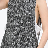 Grey Round Neckline Knitted Drop Hem Muscle Tee